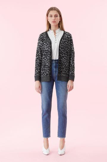 Rebecca Taylor Rebecca Taylor La Vie Leopard Jacquard Cardigan Black, Size X-small