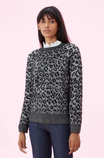 Rebecca Taylor Rebecca Taylor La Vie Leopard Jacquard Pullover Sweater Black, Size X-small