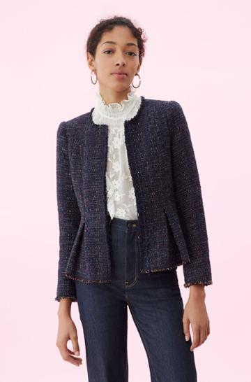 Rebecca Taylor Rebecca Taylor Rainbow Tweed Jacket Navy, Size 00
