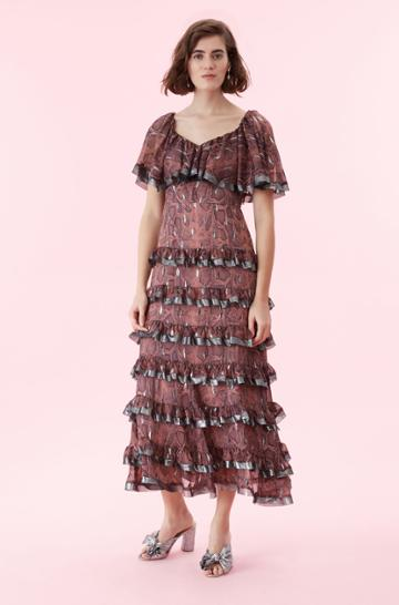 Rebecca Taylor Rebecca Taylor Snake Print Tiered Ruffle Dress Jam, Size 00