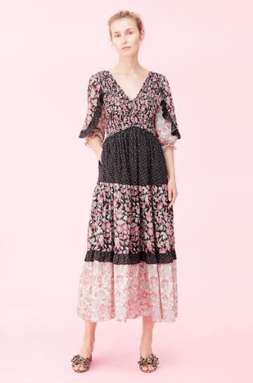Rebecca Taylor Rebecca Taylor La Vie Print Mix Smocked Dress