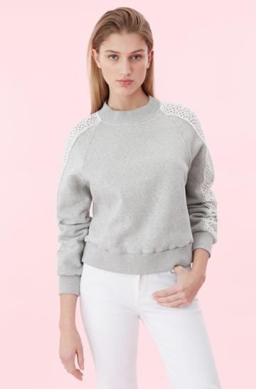 Rebecca Taylor La Vie Eyelet Fleece Sweatshirt