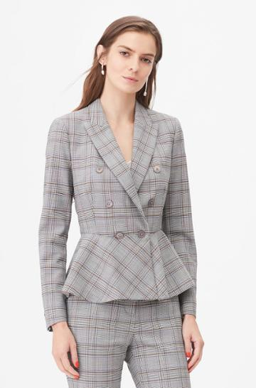 Rebecca Taylor Rebecca Taylor Tailored Plaid Suiting Peplum Jacket