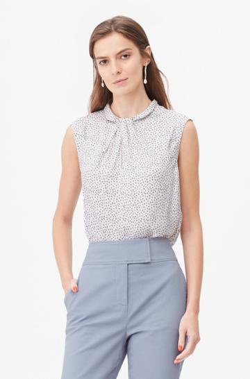 Rebecca Taylor Rebecca Taylor Tailored Pyramid Print Knot Neck Top