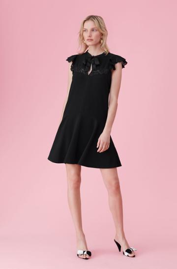 Rebecca Taylor Crepe & Lace Tie Neck Dress