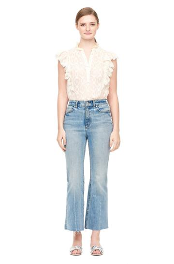Rebecca Taylor Lily Embroidered Ruffle Top