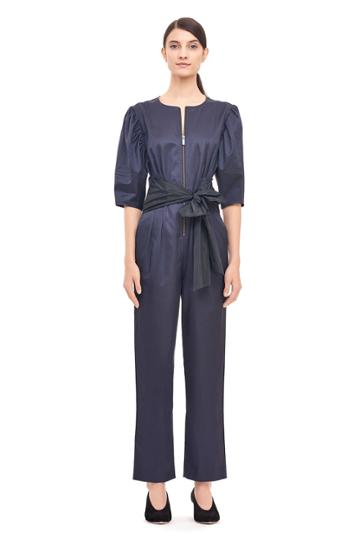 Rebecca Taylor Broken Sateen Jumpsuit With Taffeta Bow
