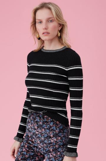 Rebecca Taylor La Vie Stripe Cozy Cotton Pullover