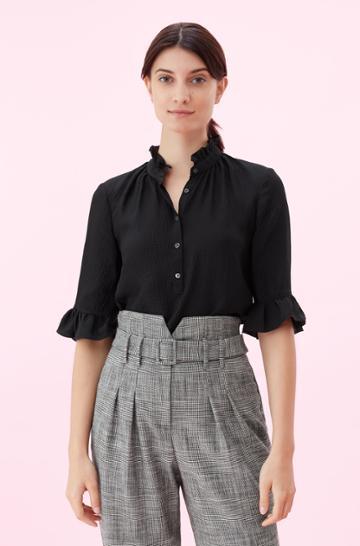 Rebecca Taylor Rebecca Taylor Hammered Silk Top Black, Size 0