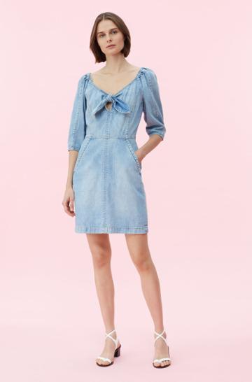 Rebecca Taylor Rebecca Taylor La Vie Drapey Denim Dress Forget Me Not Wash, Size X-small