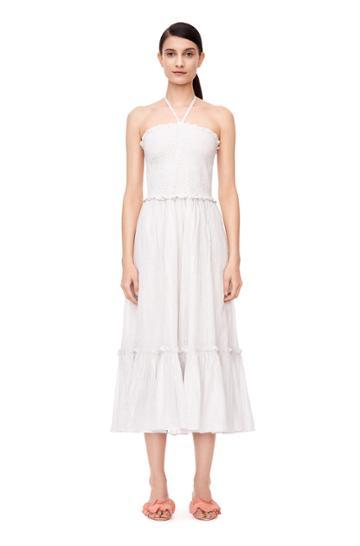 Rebecca Taylor La Vie Lurex Stripe Halter Dress