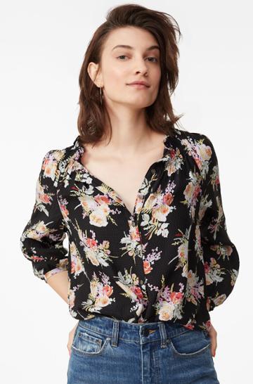Rebecca Taylor Bouquet Floral Silk Top