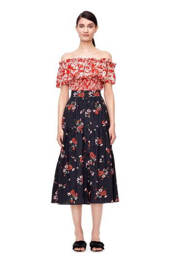 Rebecca Taylor Off-the-shoulder Cherry Blossom Top