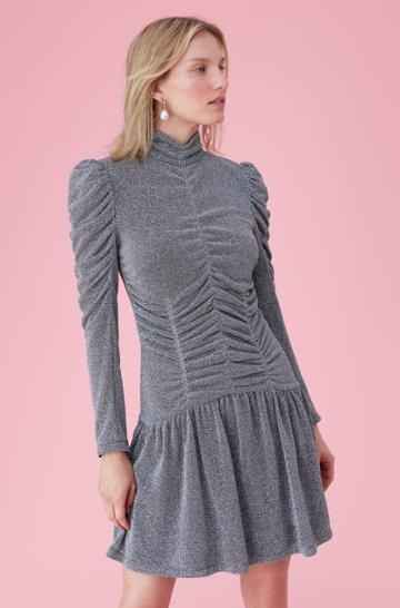 Rebecca Taylor Lurex Jersey Ruched Dress