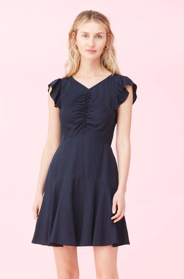 Rebecca Taylor Rebecca Taylor Dotty Jacquard Ruched Dress