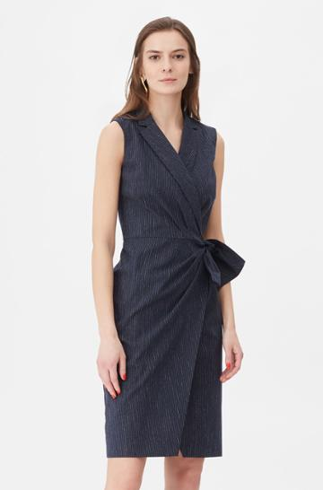 Rebecca Taylor Rebecca Taylor Tailored Pinstripe Suiting Wrap Dress