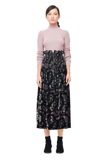 Rebecca Taylor Jewel Paisley Smocked Velvet Skirt