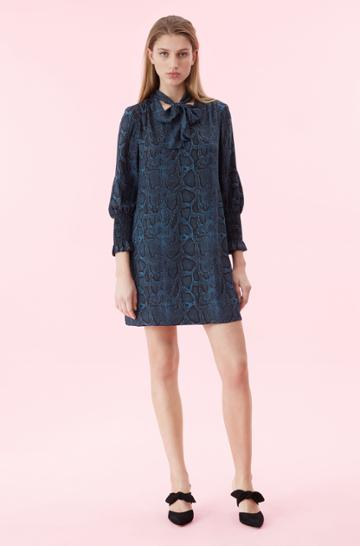 Rebecca Taylor Rebecca Taylor Snake Print Silk Scarf Tie Dress Storm, Size 00