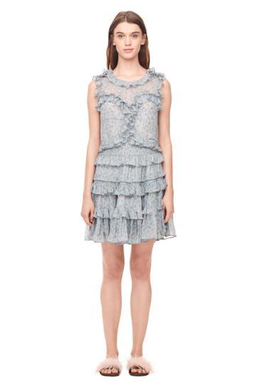 Rebecca Taylor Vine Print Chiffon Ruffle Dress