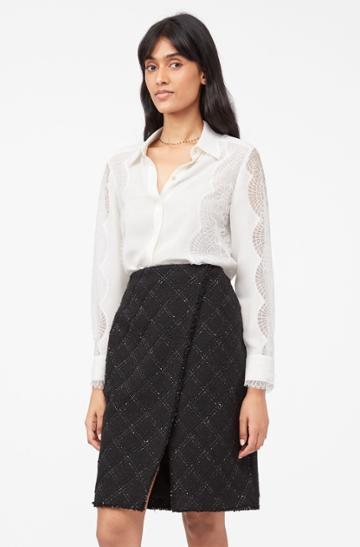 Rebecca Taylor Rebecca Taylor Tailored Textured Tweed Skirt