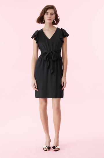 Rebecca Taylor Rebecca Taylor Hammered Silk V-neck Dress Black, Size 00