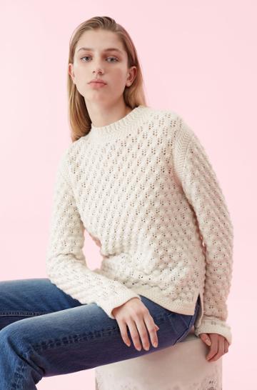 Rebecca Taylor Rebecca Taylor La Vie Popcorn Pointelle Pullover Sweater Ecru, Size X-small