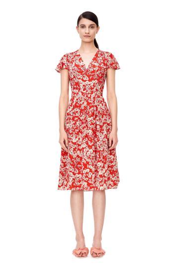 Rebecca Taylor Short Sleeve Cherry Blossom Dress