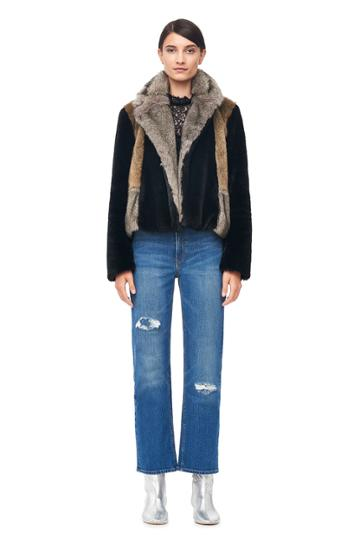 Rebecca Taylor Patched Faux Fur Coat