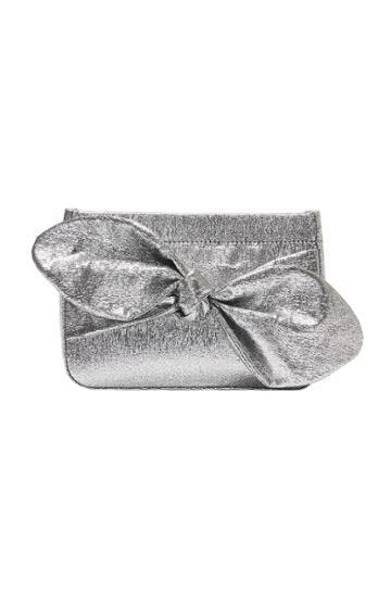 Rebecca Taylor Rebecca Taylor Cecily Bow Clutch Silver, Size One Size