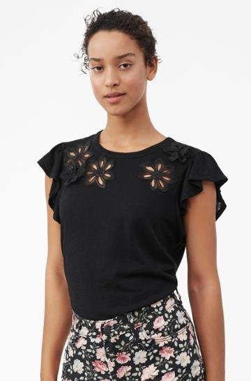 Rebecca Taylor Emilie Embroidered Jersey Top