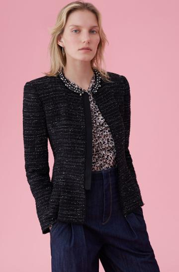 Rebecca Taylor Stretch Tweed Jacket With Pearl Trim
