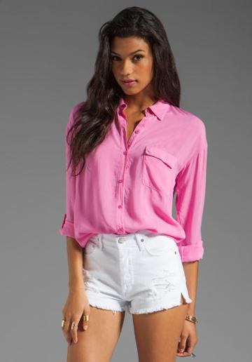 Splendid Shirting Button Up In Pink