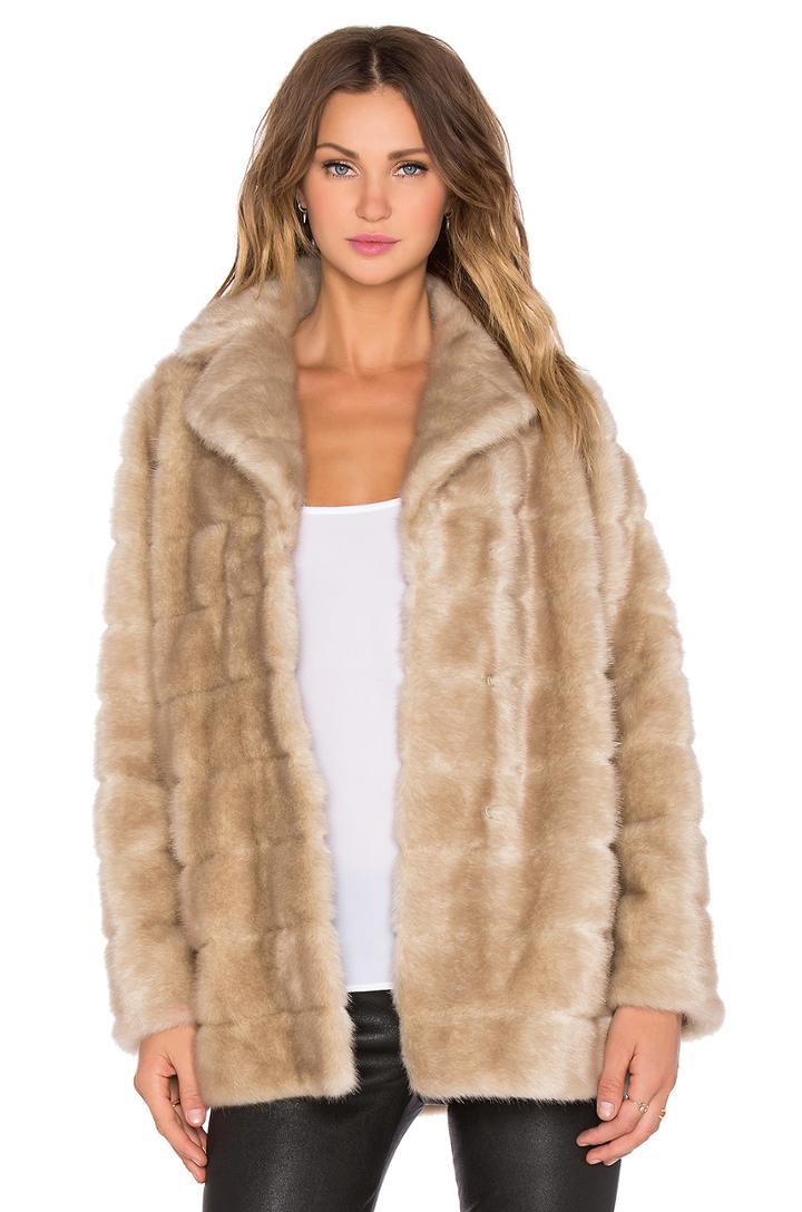 Blonde Mink Faux Fur Coat