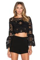 Vito Ruffle Sleeve Crochet Crop Top
