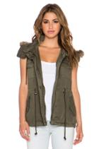 Odela Army Vest With Faux Fur Trim