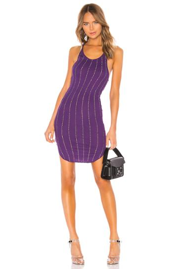 Shea Pinstripe Crystals Tank Mini Dress