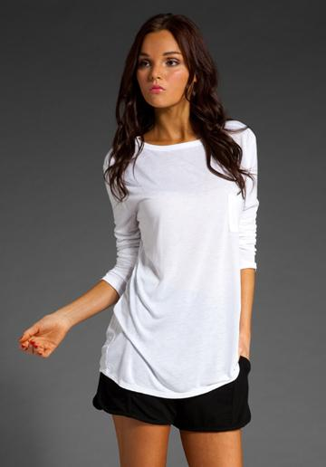 T By Alexander Wang Classic Long Sleeve T With Pocket In White