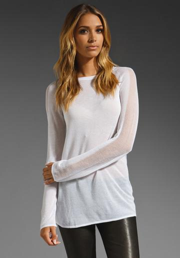 T By Alexander Wang Sheer Long Sleeve Boat Neck Tunic W/ Pointelle Sleeve Detail In White