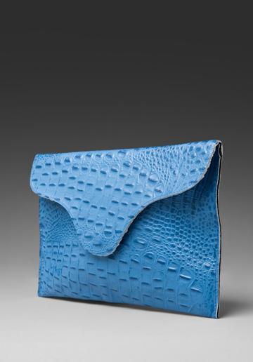 J.j. Winters Large Envelope Clutch In Brite Blue Croco