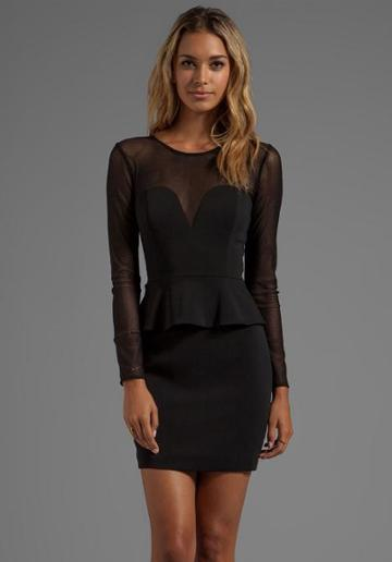 Jay Godfrey Hyland Peplum Dress With Mesh Long Sleeves In Black