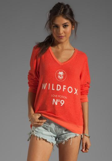 Wildfox Couture Wildfox #9 V Neck Baggy Beach Jumper In Red