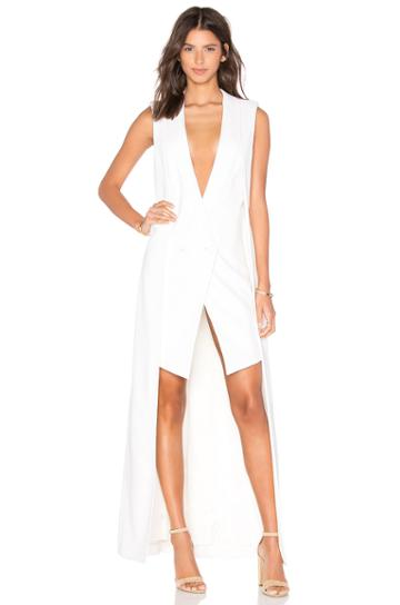Crepe Wool Double Layer Longtail Dress