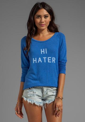 Local Celebrity Hi Hater Bye Hater Sweater In Blue