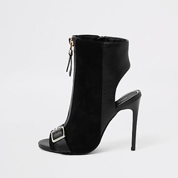River Island Womens Wide Fit Zip Front Buckle Shoe Boots