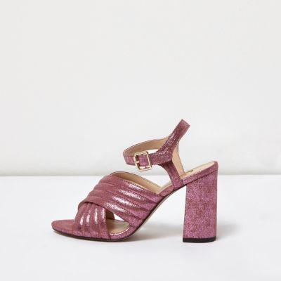 River Island Womens Glitter Cross Strappy Heels