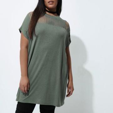 River Island Womens Plus Slashed Oversized T-shirt