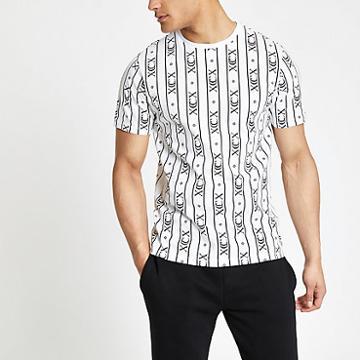 River Island Mens White 'xcx' Stripe Slim Fit T-shirt