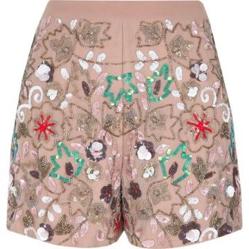 River Island Womens Floral Sequin Embellished Shorts