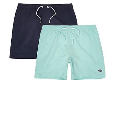 River Island Mens And Mint Blue Short Swim Shorts 2 Pack