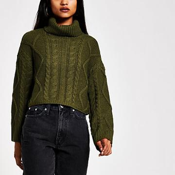 River Island Womens Petite Roll Neck Cropped Jumper